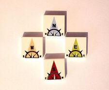 Lego 4 X imprimé carreaux 3068 2 x 2 compas imprimer, Nord, Sud, Est, Ouest