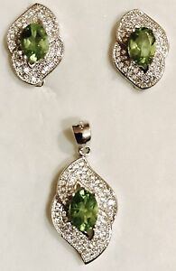 5 CTW Natural Peridot Earrings/ Pendant Necklace Set  925 Sterling Silver