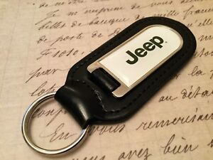 JEEP PRINTED BLACK LEATHER KEY RING FOB WRANGLER GRAND CHEROKEE COMPASS