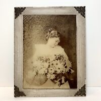Postmortem Photo Sepia Photograph Pretty Young Victorian Child Flowers Framed