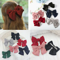 Fashion Ribbon Large Bow Hairpin Hair Clip Women Girls Satin Hair Accessories AU