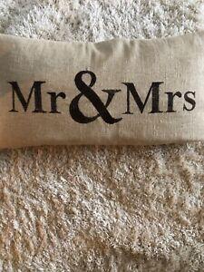 Burlap Decorative Pillow Mr and Mrs Brown