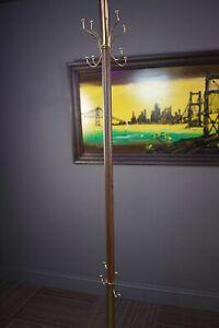 Mid Century Modern Wood Grain & Gold Tension Pole Tree Hat & Coat Rack