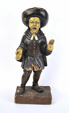 Antique Carved Wood Hand Painted Town Cryer Crier Colonial Man Sculpture