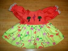 "FLORIDA FLAMINGO PALM TREE CORAL PINK TOP DRESS for 16-17"" CPK Cabbage Patch Kid"