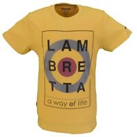 Lambretta Mustard Square Target Logo 100% Cotton T Shirt