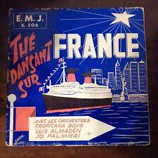 """33T Pochette Déco Thé dansant sur """" Paquebot France"""" Illustration de A.Baron"""
