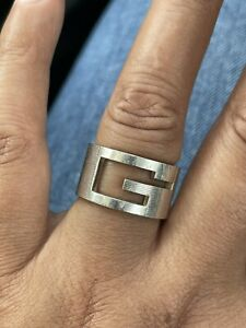 Gucci G Wide Band Ring 925 Silver Ring Hallmarked Rare Size 18 Fits O 1/2