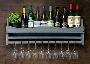 Large Grey Wooden Wine Shelf Rack Bottle & 10 Glass Holder Home Bar (10GR)EL