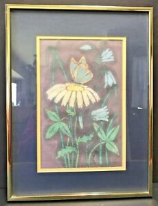 Vintage Batik Art Signed By Artist Matted And Framed Flowers Butterfly 1970's