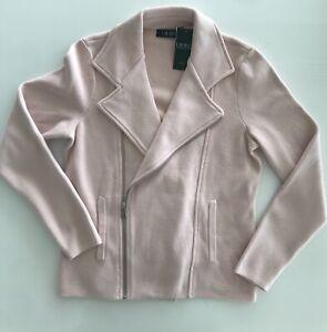 New $225 Lauren Ralph Laurwn Pink Scuba Jacket Blazer Petite L