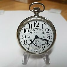 Elgin 16 Size Grade 370 B.W. Raymond Pocket Watch Has Steam Locomotive Engraving