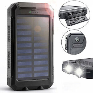 2000000mAh Solar Power Bank LED Dual USB Backup Battery Charger For Mobile Phone