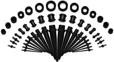 Ear Stretching Kit Black Tapers Plugs Silicone Tunnels Gauges Expander 50 Pcs