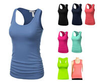 Women's RACER BACK Tank Top Light Weight Casual A-Shirt Basic Workout wrinkled