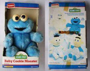 "RARE VINTAGE 1990 SESAME STREET BABY COOKIE MONSTER 11"" PLUSH PLAYSKOOL NEW !"
