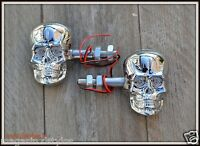 1 Paire de Clignotants Visage Tête de Mort Skull Chrome  - moto trike custom HD