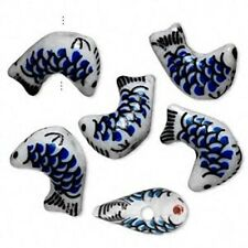 6 Porcelain Hand Painted White & Blue 18x12mm Fish Beads *