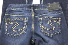Womens Aiko Sliver Boot Cut Jeans Size 25 / 33 Pre-Owned Med Wash Thick Stitch