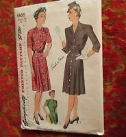 50s VTG Sewing Pattern Simplicity 4866 Bust 40 Womens Dress