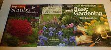 3 Lot Gardening Books,Basic Gardening,Shrubs & Hedges,Gardening Perennials, New