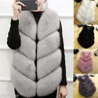 Women Furry Fur Collar Warm Thick Jacket Coat Outwear Sleeveless Vest Waistcoat