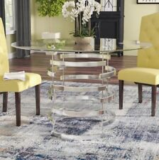 """Modern Clear Glass Round Top Dining Kitchen Dinette Table Metal Chrome 47.25"""" D"""