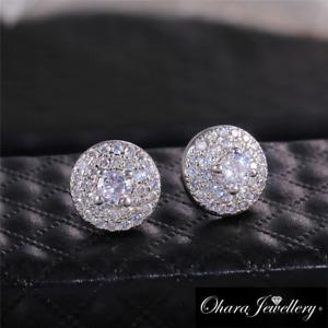 18K White Gold Round Bling Silver Cubic Zirconia Stud Earrings Jewellery Uk