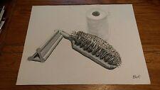 BWR original Painting Brush Toilet Paper Towel Bathroom art artist Realism Real