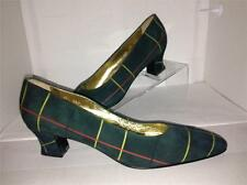"Escada Green Classic 2.5"" Heel Suede Pumps with Red & Yellow Stripes Size 8.5 A"