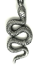 SIDEWINDER SNAKE PEWTER PENDANT BOYS GIRLS CHAIN NECKLACE PC0243