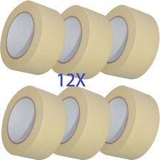 12X rolls MASKING Tape 50mm x 50m STRONG painting decorators art kraft painter