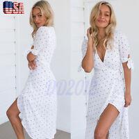 Summer Women Short Sleeve Deep V Neck Print Party Beach Casual Long Maxi Dress