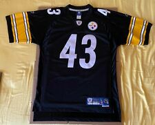 Troy Polamalu #43 Steelers Black Authentic Reebok Football Jersey Size Large