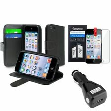 Black Leather Case w/Holder+Film+Car Charger Adapter For iPod Touch 5 5th 6 Gen