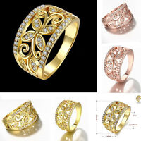 Rose Gold 18K Plated Flower Zircon Women Ring Wedding Party Ring Size 7 8 Gift