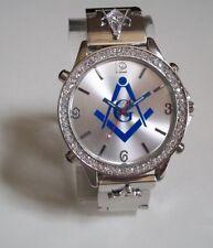 Men's Silver Finish Bling Dressy/Casual Blue Mason Fashion Wrist Watch