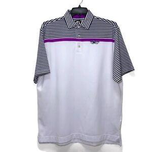 FootJoy Mens Golf Polo Shirt Size Large White Short Sleeve Solid Polo Purple