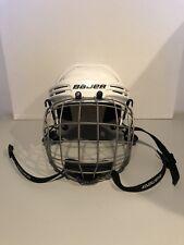 "Bauer Ice Hockey Helmet BHH2100JR WHITE & Cage 6 1/4 to 6 7/8"""