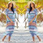 Fashion Women Kaftan Swimwear Beach Wear Boho Long Cover Up Kaftan Sarong Dress