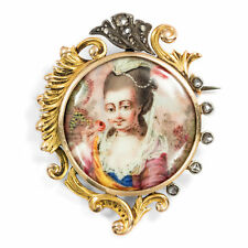 Email Painting,Gold & Diamonds/Enamel Neo Around 1890: Antique Brooch with