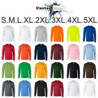 Long Sleeve T-SHIRT blank plain basic tee S - 5XL Small Big Men's Ultra Cotton