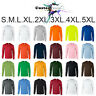Long Sleeve T-SHIRT blank plain basic tee S - 5XL Small Big Men's Ultra Cotton