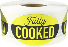 Fully Cooked Grocery Food Stickers, 1.25 x 2 Inches, 500 Labels on a Roll