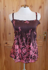 WAREHOUSE brown pink crinkle SILK lfloral sequin camisole vest tunic top 14 42