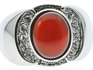 Red Agate Ruby Simulated Stone Cz Accented Stainless Steel Mens Ring Size 12 T23