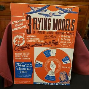 VINTAGE 1944 3 FLYING FIGHTING PLANE MODELS PRESS OUT ACTIVITY BOOK TOY-  UNUSED