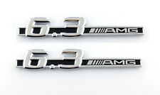 Pair 6.3.AMG fender badge Decal Car Side Skirt Sticker Emblem S63 E63 CL63 C63