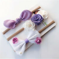 3X Kids Girls Baby Headband Toddler Bow Flower Hair Band Accessories HeadwearSEA