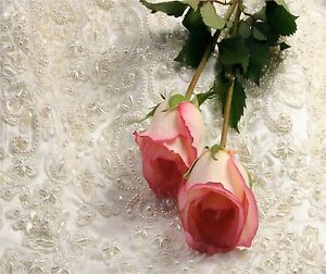 SO SHABBY PINK ROSES AND PEARLS IMAGE 1   HOME DECOR COMPUTER MOUSE PAD 9 X 7